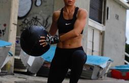 Lia Jones fitness ball and squat image