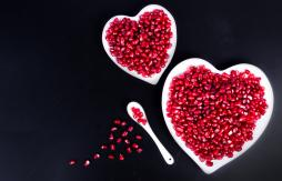 Heart shaped dishes with pomegranate