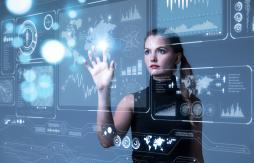 Woman with futuristic screen