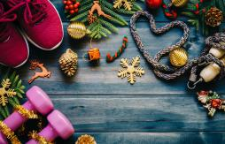 Image of weights and christmas decorations